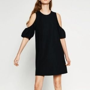 Zara Trafaluc black cold shoulder dress